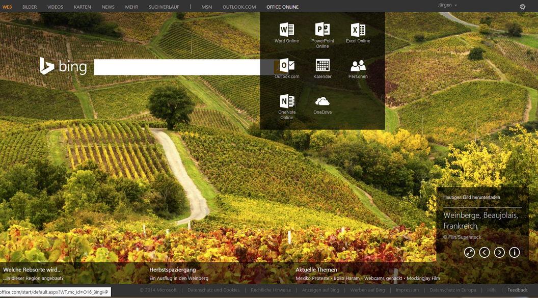 Bing Suche nun mit HD-Hintergrundbildern und Zugang zu Office-Programmen