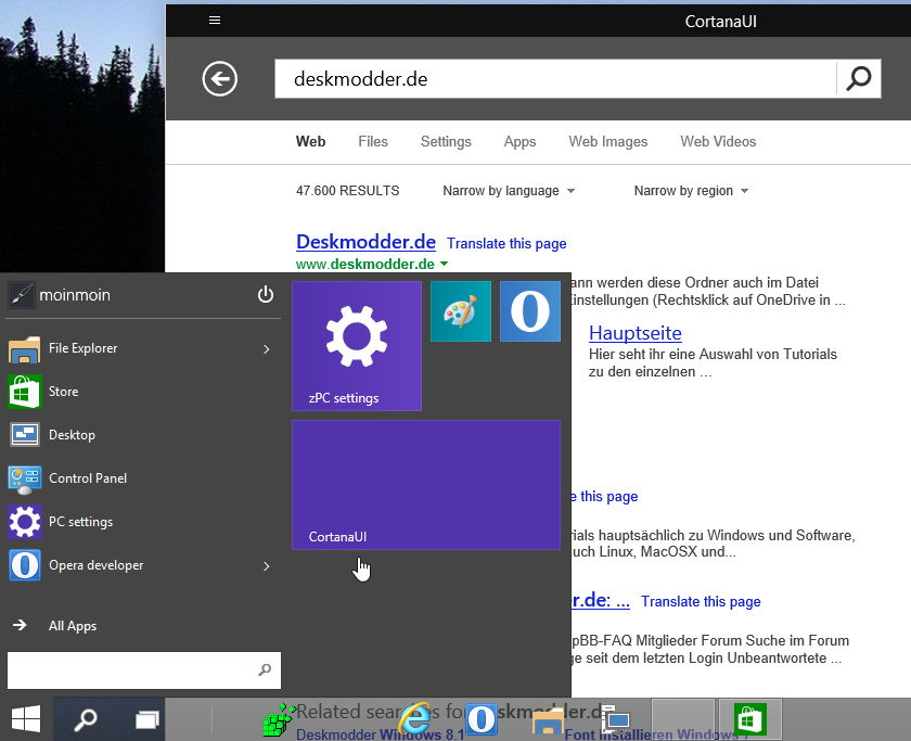 CortanaUI die Suchfunktion in Windows 10 Build 9879