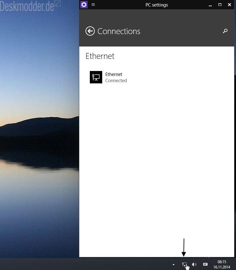 Netzwerk WLAN Einstellungen wieder in der Charmsbar öffnen Windows 10