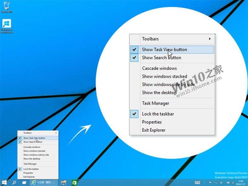 Windows 10: Task View-Button & Search-Button der Taskleiste werden von Haus aus deaktivierbar sein