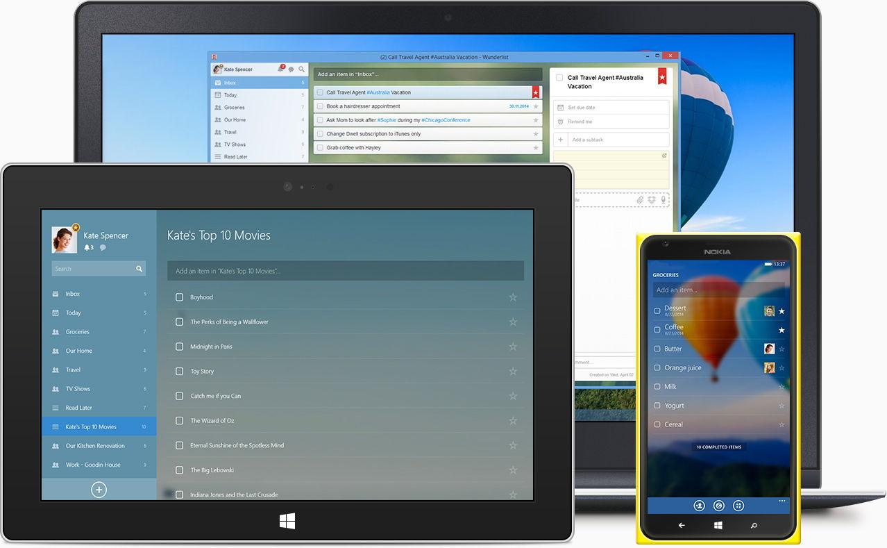 Wunderlist steht nun auch als Windows 7 und Windows 8 Desktop Programm zum Download bereit