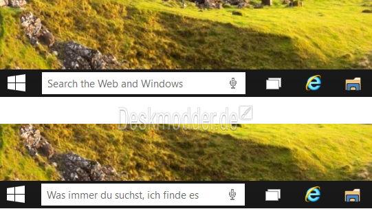 Text der neuen Suchbox in der Taskleiste ändern Windows 10