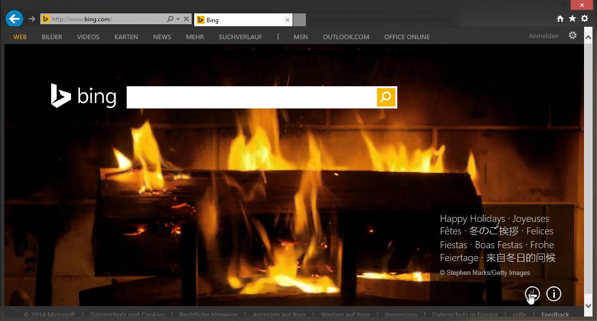Bing.com mit einem animierten Kaminfeuer passend zu Weihnachten