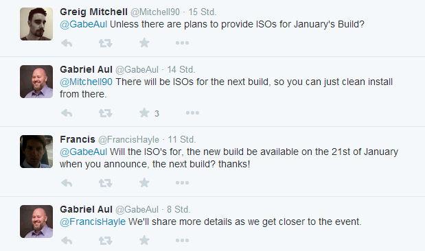 Die Windows 10 Januar Build wird es auch als ISO geben