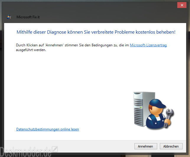 Aus dem Windows Reparatur Utility MSICUU2.exe wurde nun ein Fixit