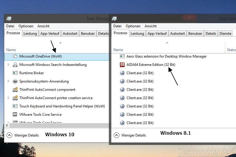 Im Task Manager von Windows 10 erscheint nun WoW und nicht 32 Bit