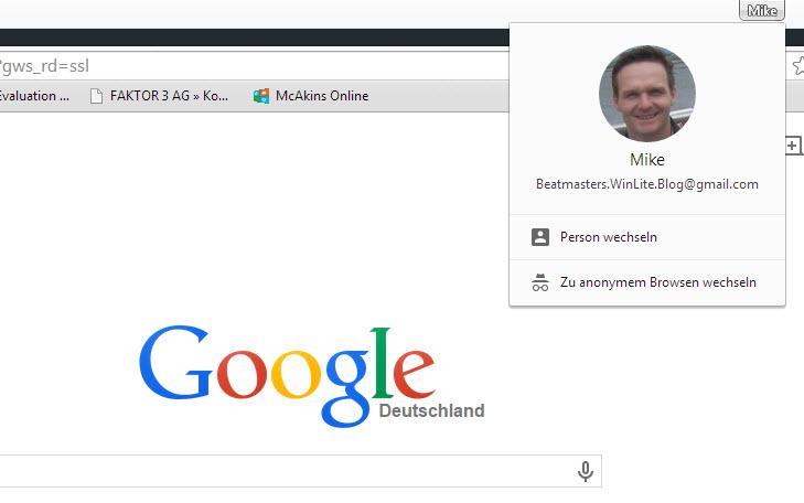 Neues Avatar-Menü unter Google Chrome deaktivieren