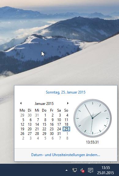 Windows 10: Neue Uhr & Datumsanzeige in der Januar Preview (Build 9926) aktivieren