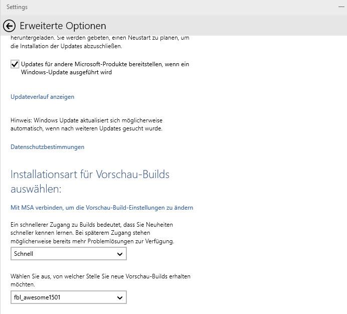 KB3035129 bringt Auswahl der Update-Quelle für kommende Builds von Windows 10 mit