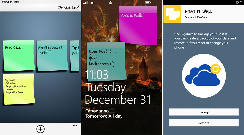 app des tages post it wall pro f r das windows phone. Black Bedroom Furniture Sets. Home Design Ideas