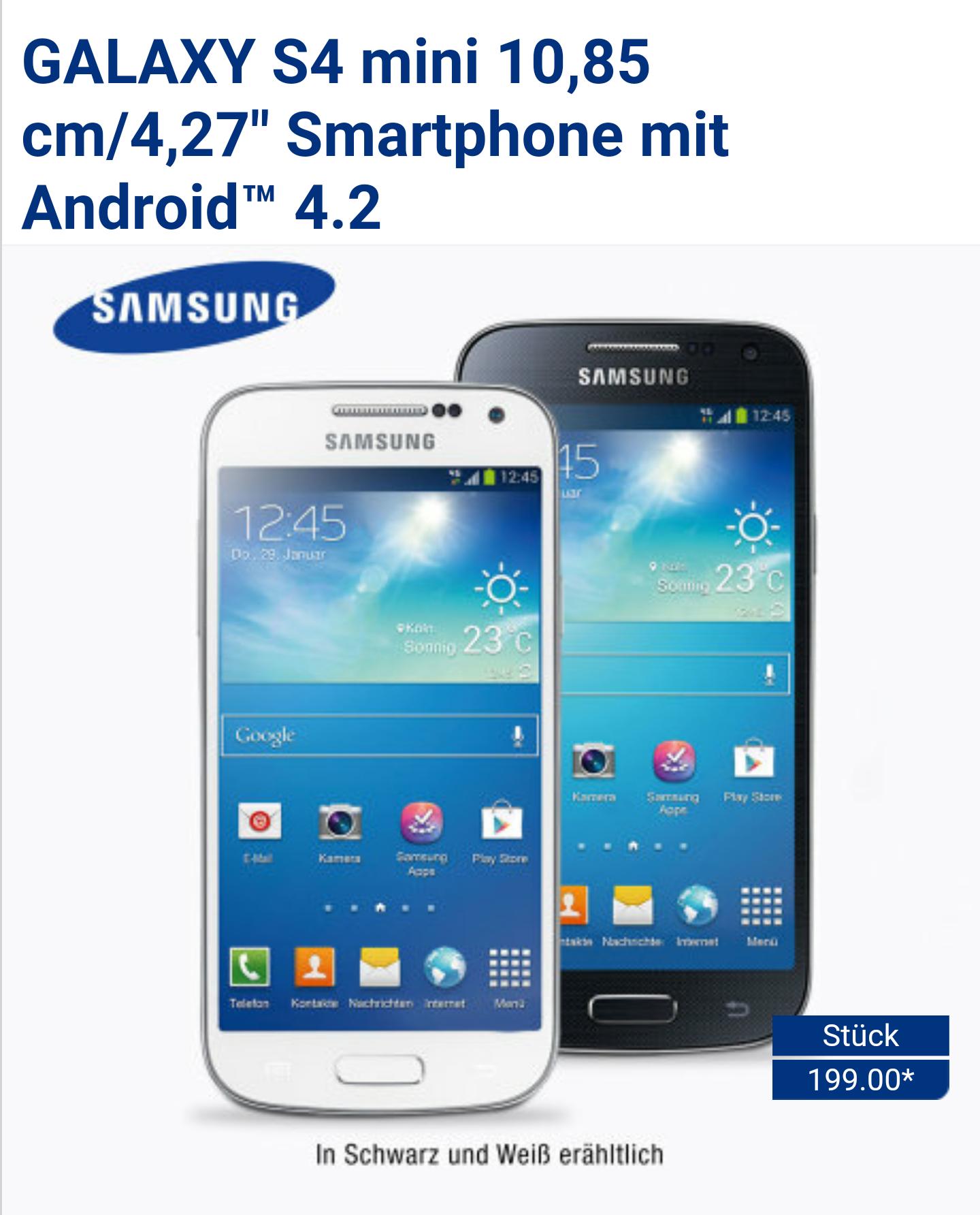 Samsung Galaxy S4 Mini ab 29.Januar bei Aldi-Nord für 199,- Euro