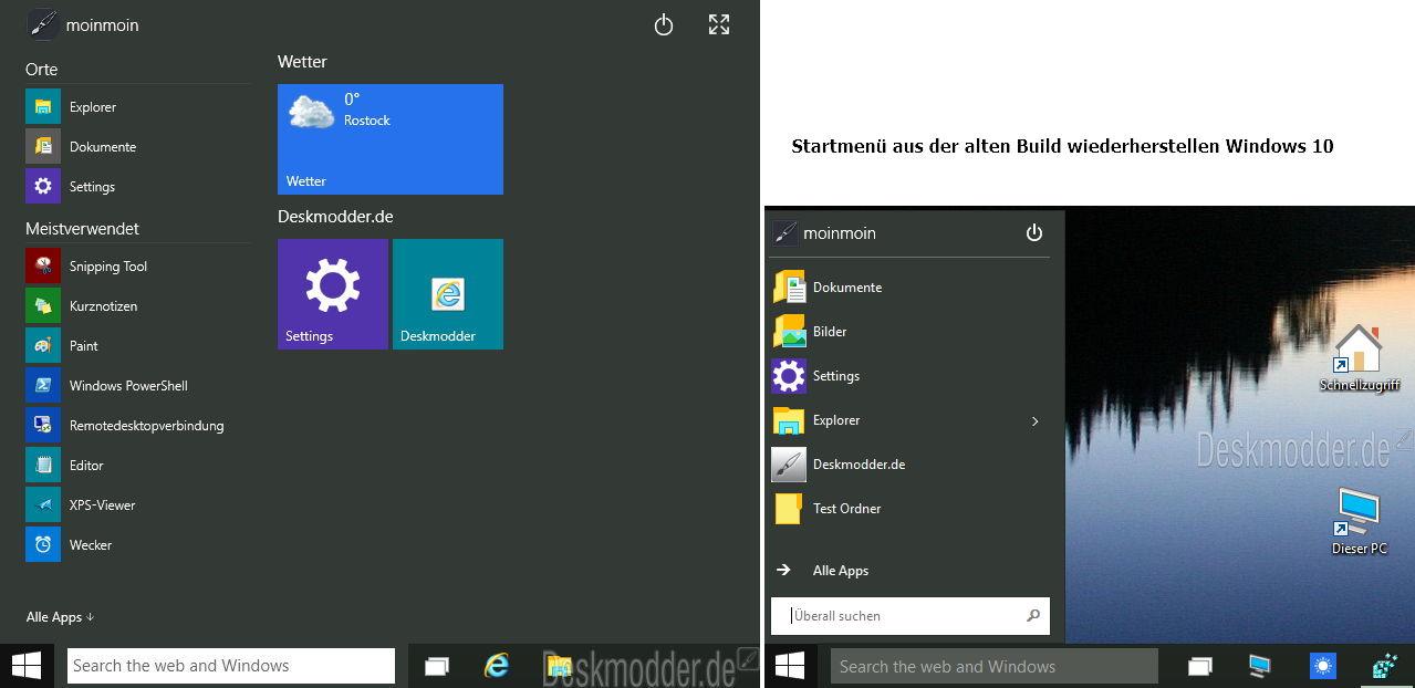 Das Startmenü aus den alten Windows 10 Builds wiederherstellen