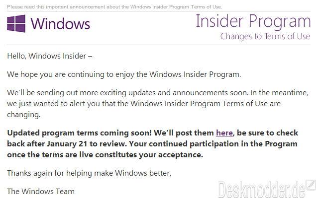 Windows 10 Insider: Nutzungsbedingungen werden nach dem 21.Januar angepasst