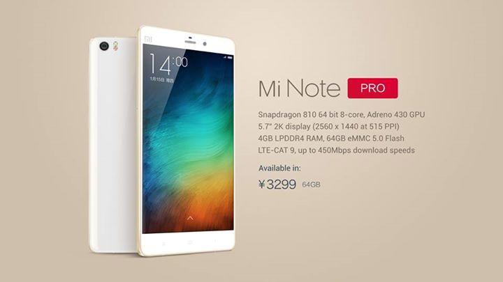Xiaomi Mi Note Pro mit QHD und Snapdragon 810