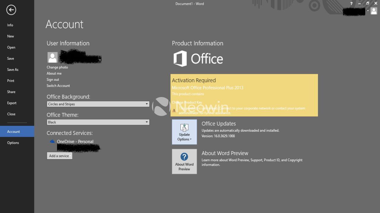 Leak: Office 2016 TP Build 16.0.3629.1006 [Update]