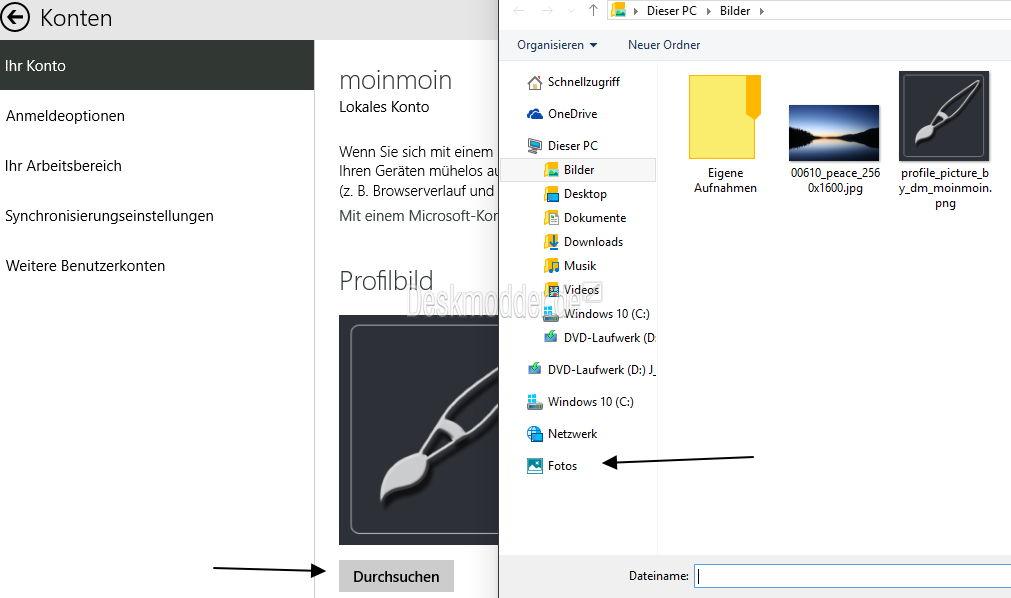 Bilder für das Profil und Sperrbildschirm lassen sich auch von OneDrive auswählen Windows 10