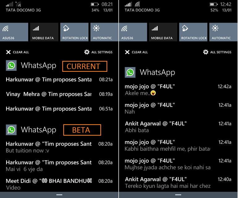 WhatsApp Beta mit einem Update. Hoffentlich auch bald in der öffentlichen Version
