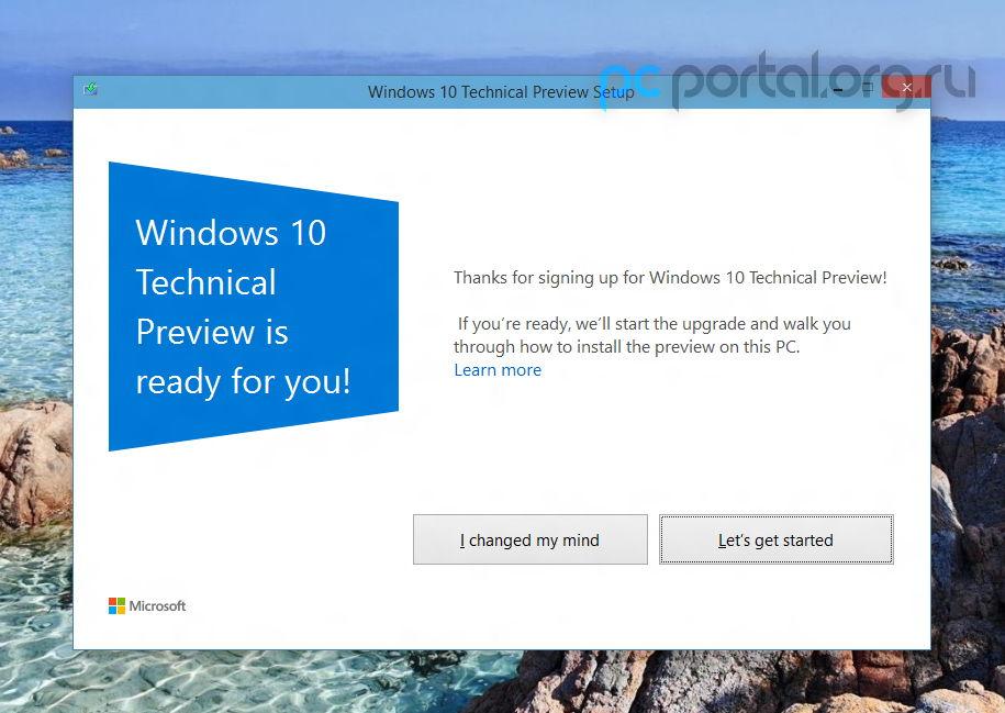 Screenshots vom Ablauf der  Windows 10 Technical Preview Installation