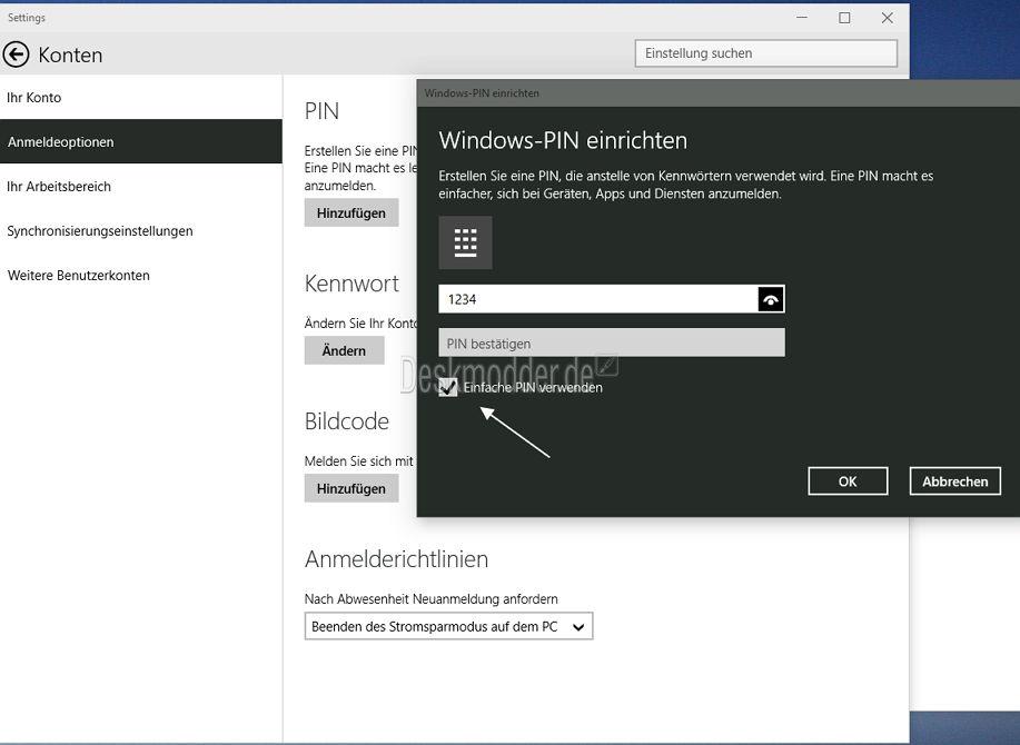 Windows 10: Pin mit mehr als 4 Zahlen einrichten