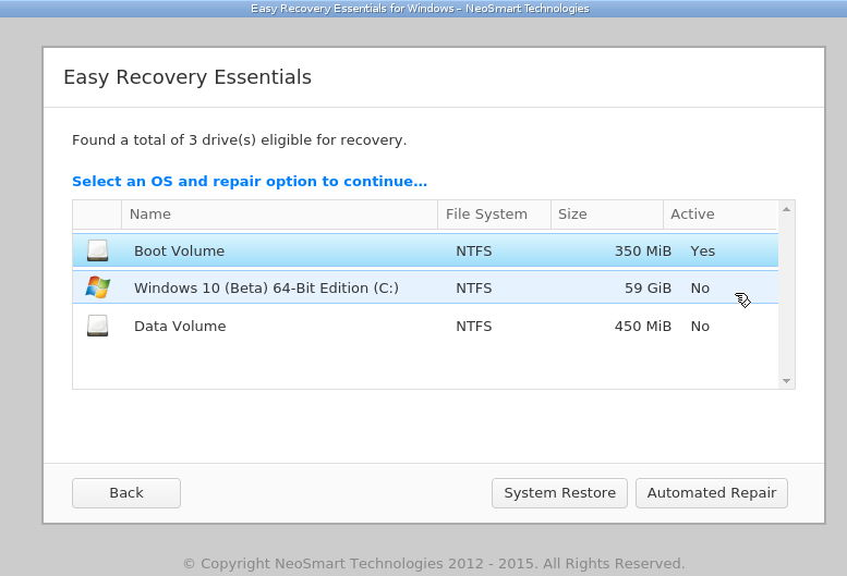 Easy Recovery Essentials for Windows 10, a bootable automated repair and recovery CD, is now available for free