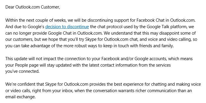 Outlook.com entfernt Facebook Chat und Google Talk – Hangout