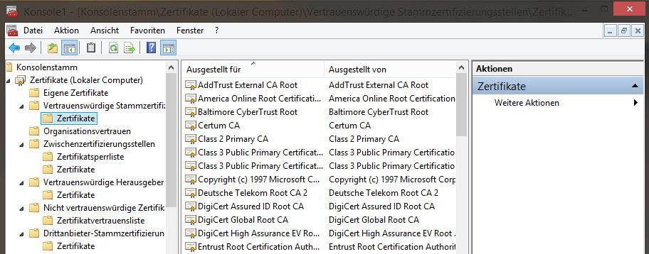 Windows nach falschen Zertifikaten überprüfen
