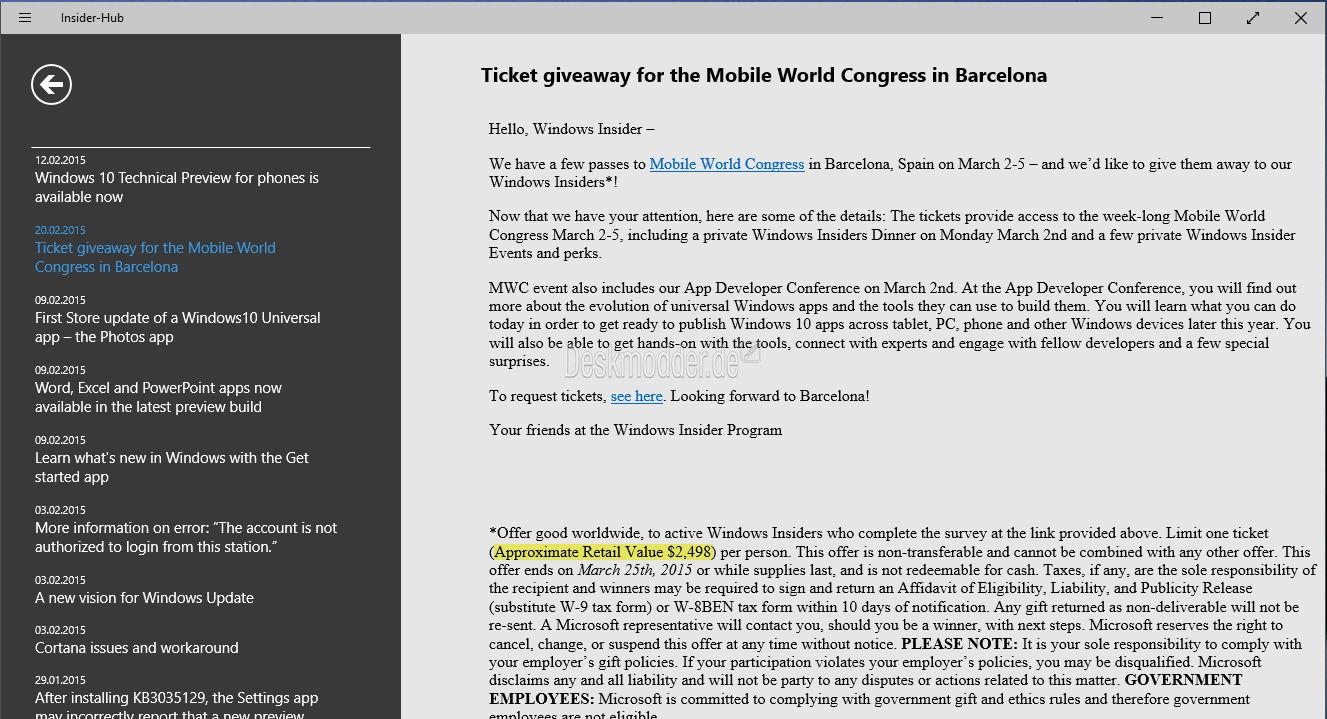 Insider Hub Windows 10 Ticket für die Mobile World Congress Messe in Barcelona gewinnen