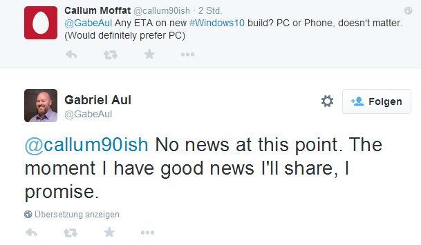 Neue Windows 10 Preview Build noch heute?