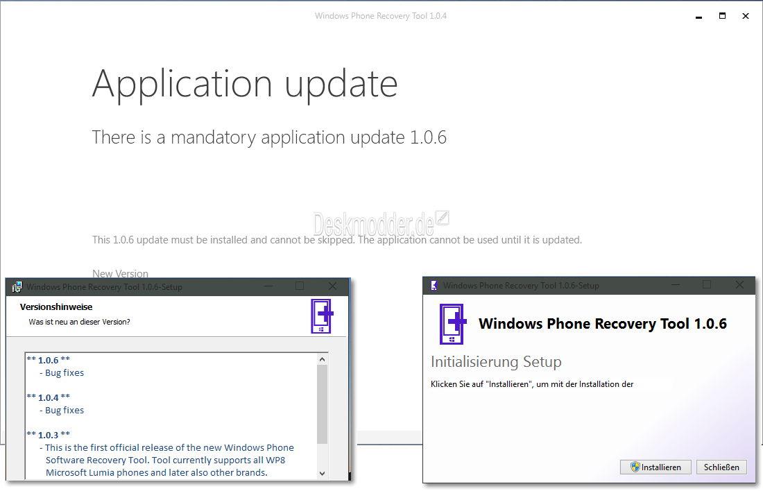 Windows Phone Recovery Tool mit einem Update auf die Version 1.0.6