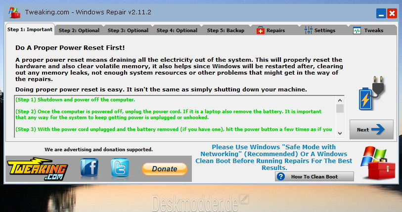 Windows Repair (All In One) Ein portables Tool zum Reparieren und Prüfen von Windows