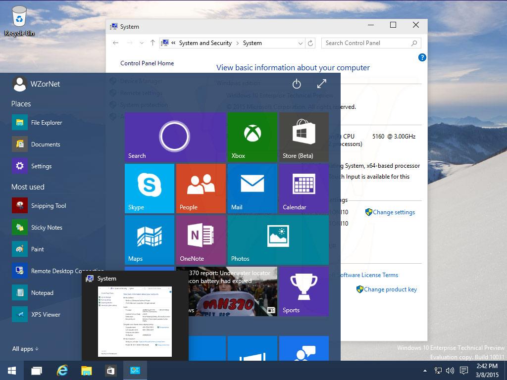 Windows 10 –  Und noch mehr Screenshots der 10031 Windows 10 Enterprise x64 Technical Preview