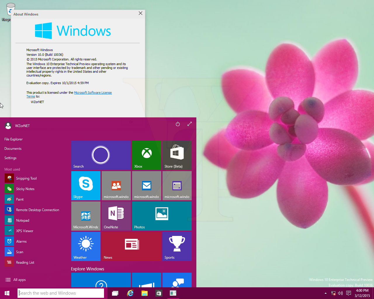 Windows 10 – Neue Screenshots der Enterprise Technical Preview Build 10036 veröffentlicht