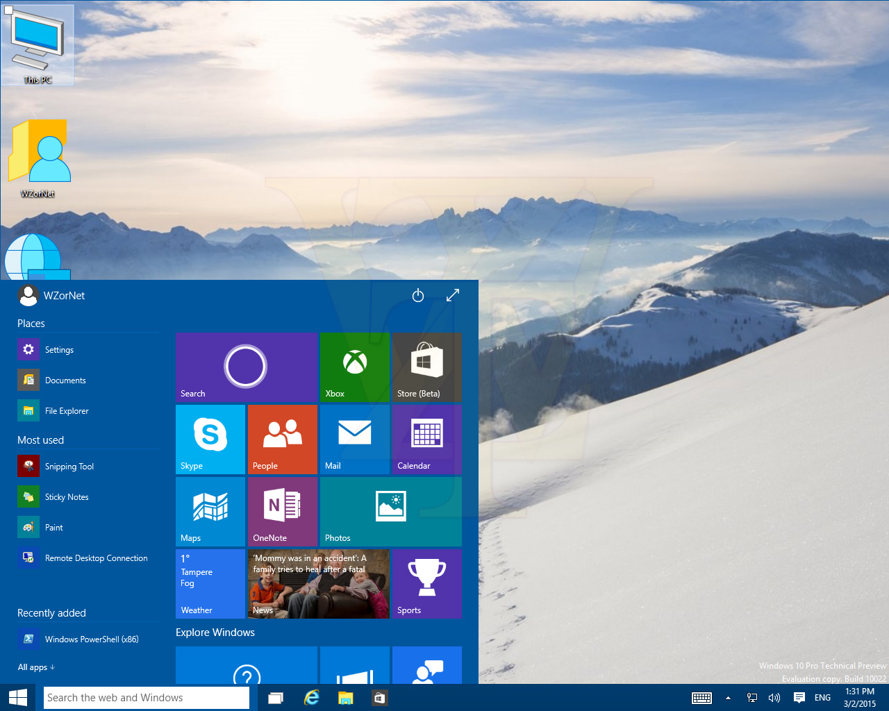 Windows 10 – Noch mehr Screenshots aus der Build 10022 der Such- und Taskleisteneigenschaften sowie des Desktops und der virtuellen Desktops