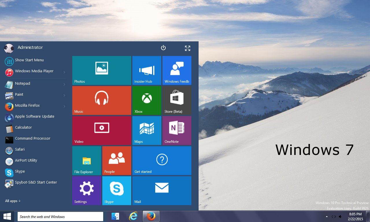 Windows 10 Tech Preview Startmenü für XP, Windows 7 und Windows 8 [Video]