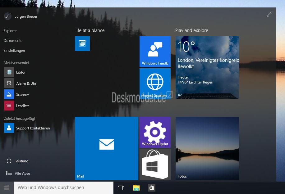 Neue Transparenz (mit Blur) in der Build 10074 im Startmenü und der Taskleiste aktivieren