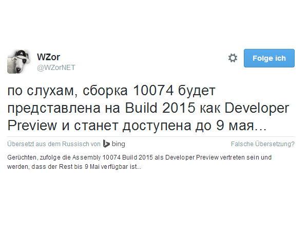 Gerüchteküche: Microsoft zeigt auf der Build 2015 die Windows 10 10074