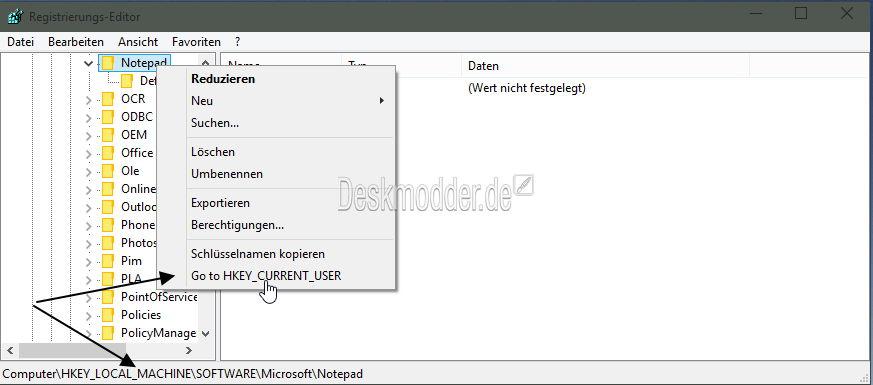 Windows 10 Registrierungs-Editor mit einer guten Erweiterung im Kontextmenü
