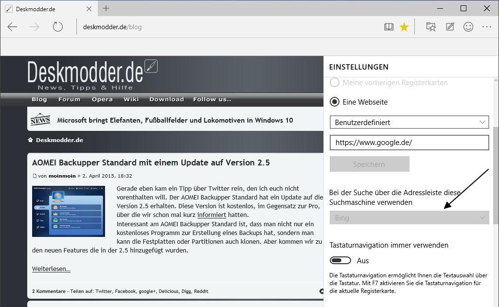 Windows 10 Spartan: Bing-Suche in Google-Suche ändern