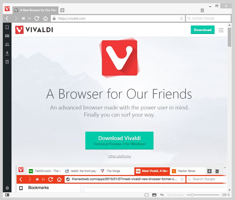 Vivaldi Browser neue Technical Preview vor der Beta
