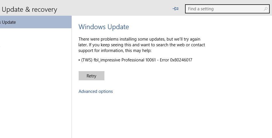 Windows 10 Update mit einer Fehlermeldung
