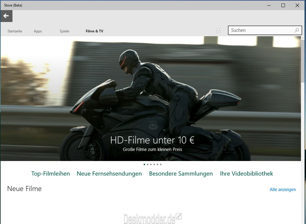 Windows 10 Store Beta Filme, Serien und TV nun online