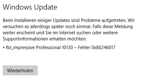Windows 10 Insider Preview – Altbekannter Fehler 0x80246017 verhindert Installation
