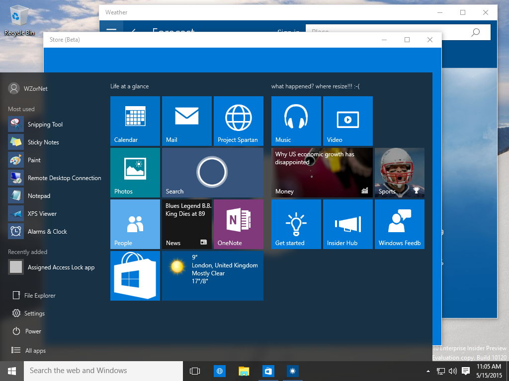 Windows 10 10120 Startmenü ohne Fullscreen-Funktion