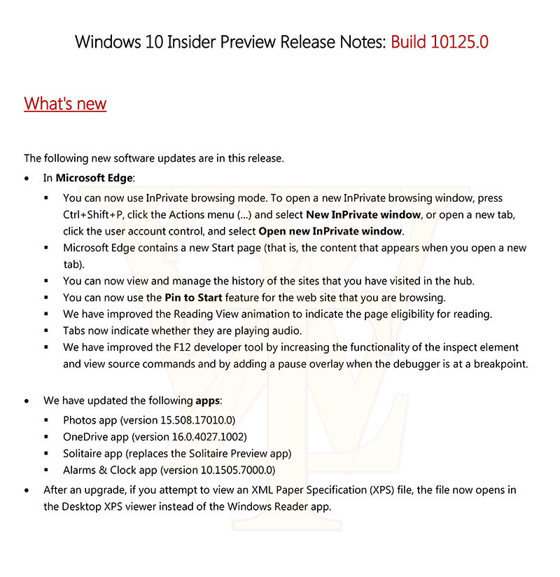 Windows 10 Build 10125 Release Notes veröffentlicht