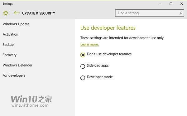 Sideload Apps in der Windows 10 10114 freigeschaltet