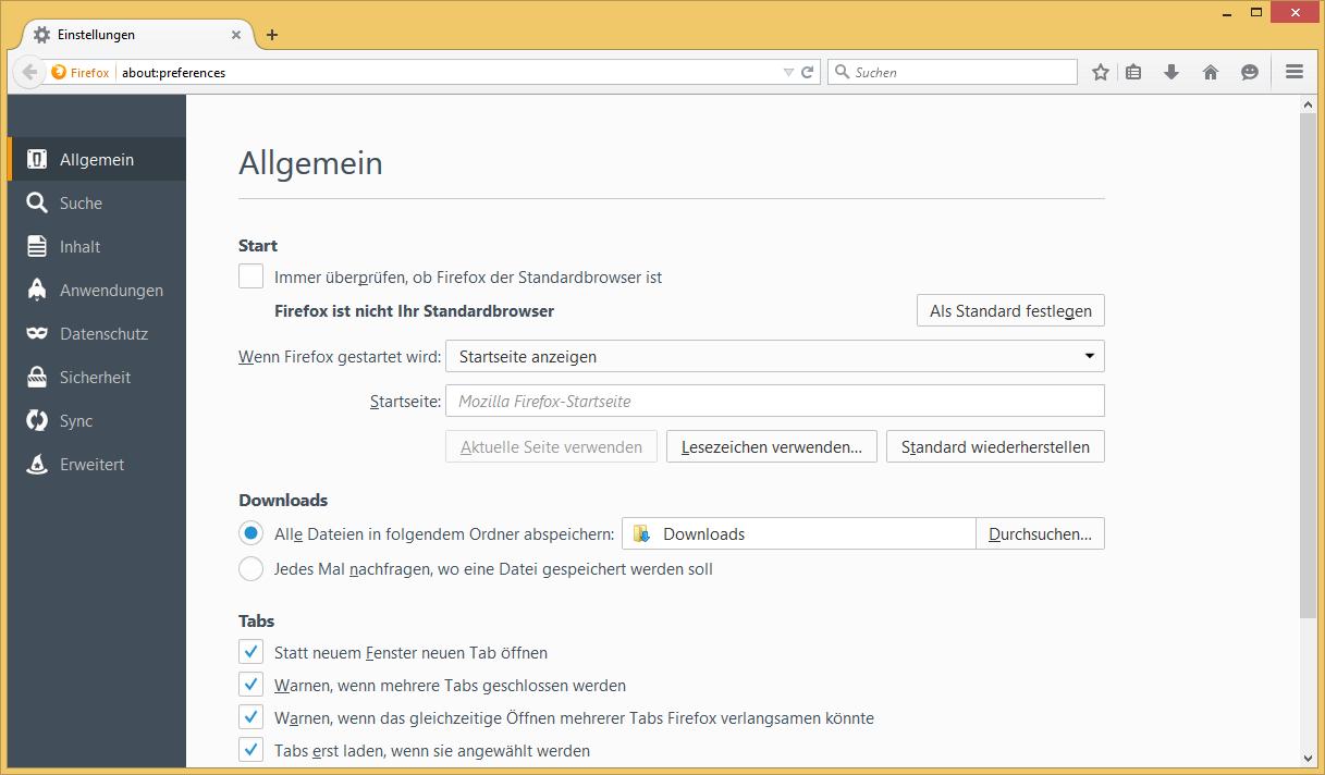 Einstellungstab in Firefox 38
