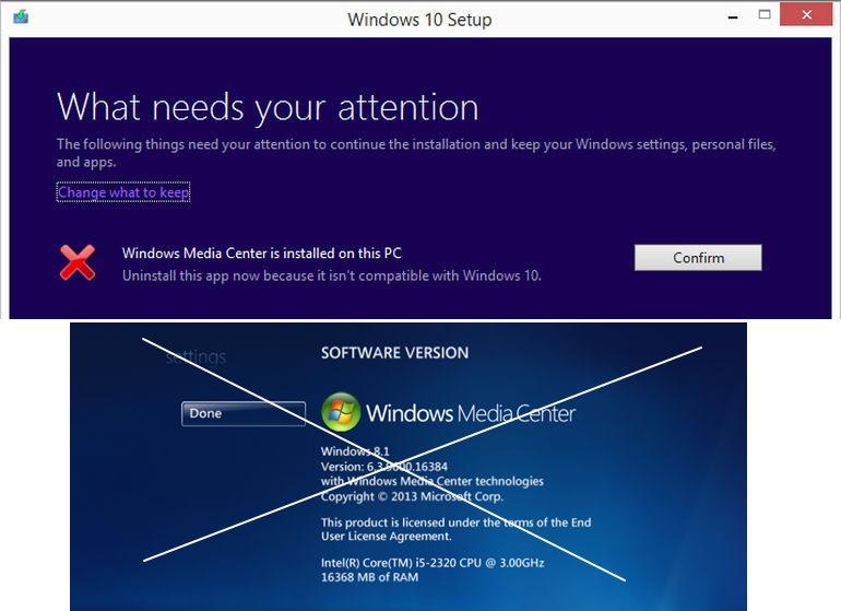 Umstieg von Windows 7 / 8.1 mit Media Center auf  Windows 10 wird nicht möglich sein