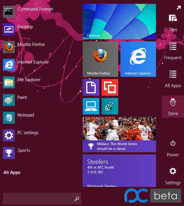 Windows 10 Startmenü als Prototyp aus dem Jahr 2013 in Bildern