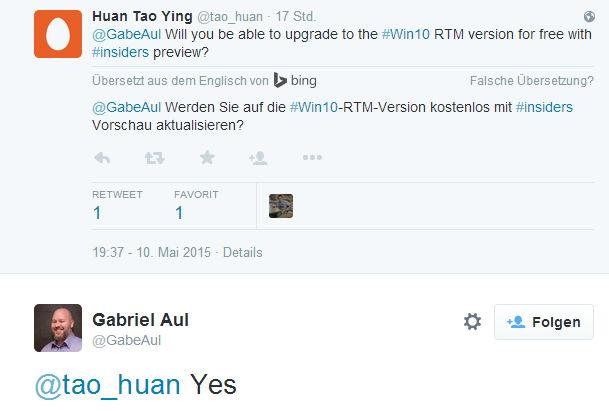 Windows 10 für Insider definitiv kostenlos [Update]