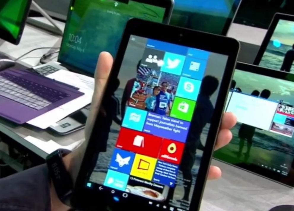 windows 10 auf kleinen tablets mit neuer ui in einem video. Black Bedroom Furniture Sets. Home Design Ideas